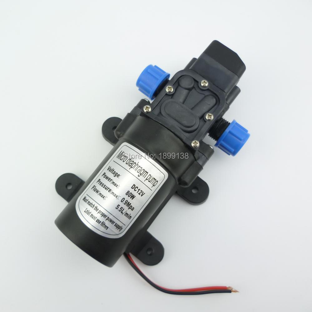 Electric Automatic pressure switch type DC 80W 5.5L/min High pressure self priming 12v water pump diaphragm water pump dc 12v 80w high pressure diaphragm water pump electric water pump for boat caravan marine motor water pumps