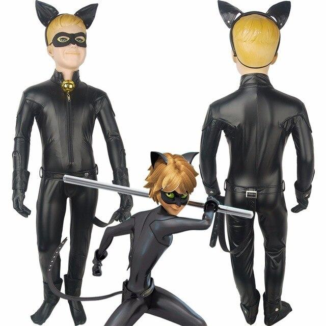 Muchachos Niños Milagrosa: cuentos de Mariquita y Adrien Agreste, Gato Gato Noir Noir Mono Del Equipo Conjunto Completo de Halloween Cosplay