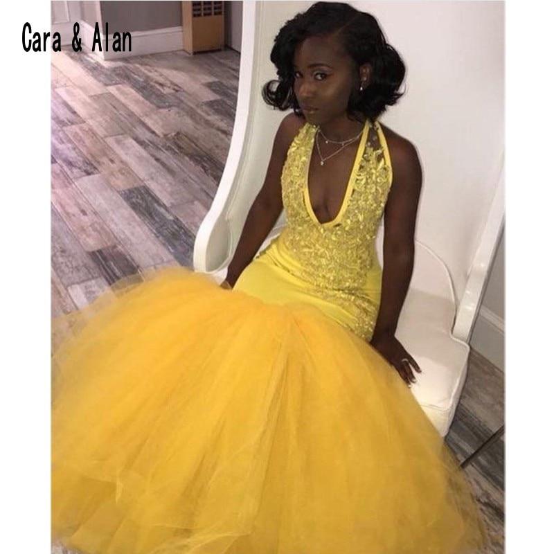 Mermaid Yellow Black Girls Prom Dresses