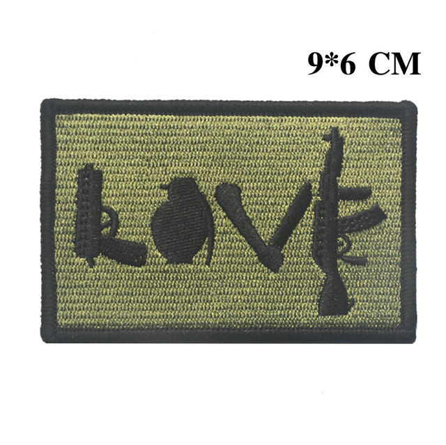 Embroidered LOVE patches gun knife refile US army morale tactical patch  militare ISAF combat patch hook