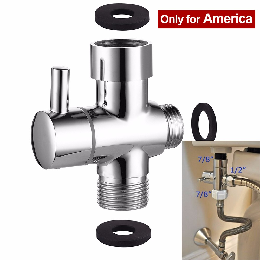 "3 Way Brass Chrome/ Brushed Nickel G7/8"" or 15/16″ Diverter for Toilet and Bidet Sprayer Set T-adapter Valve Replacement Part"