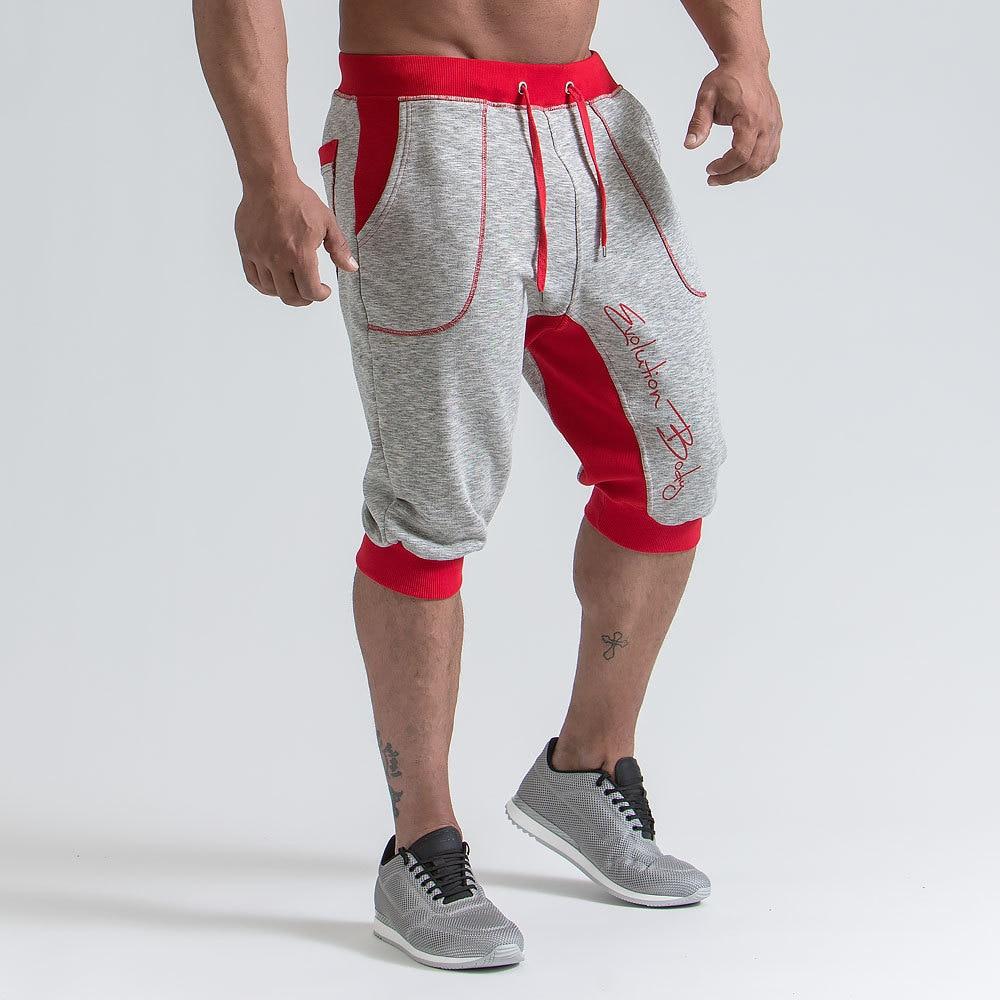 Mens Casual Fashion Cotton Shorts Male 2018 Summer New Jogger Cropped Sweatpants Man Gyms Fitness Drawstring Shorts
