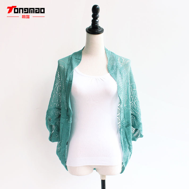 Tongmao Brand Women S Spring And Summer Hollow Thin Knit Loose Bat Sleeve Air Conditioning Tops Sunscreen Shirt Cardigan
