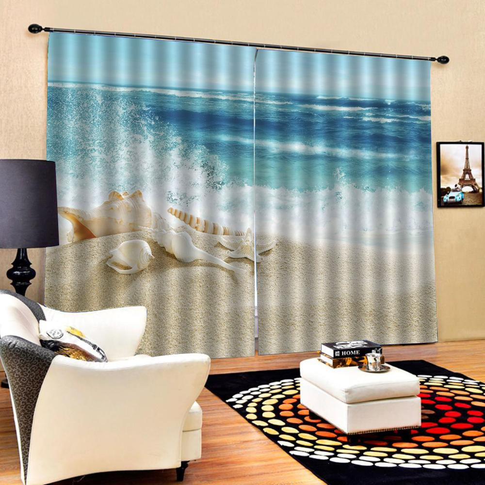 Blue Beach Curtains Wave Nature Scenery Ature Art Print, Drapes Living Room Bedroom Decor 2 Panels Hooks Window Curtains
