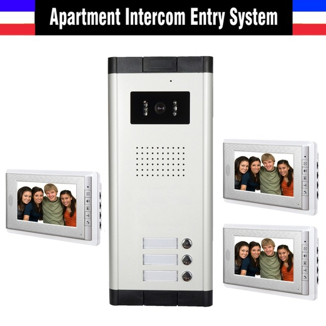 3 Units Apartment Video Door Phone Intercom System Doorbell Kit For Apartments House 1 Camera Monitor
