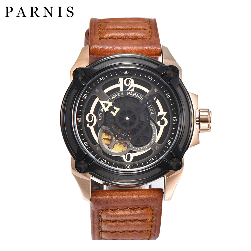 Fashion Men Watch 44mm Parnis Watches 21-Jewels Automatic Mechanical Black Dial Gold Case Sapphire Crystal Luminous Number mechanical watches tourbillon men watch parnis 44mm power reserved sapphire luminous genuine leahter steel black watches relojes