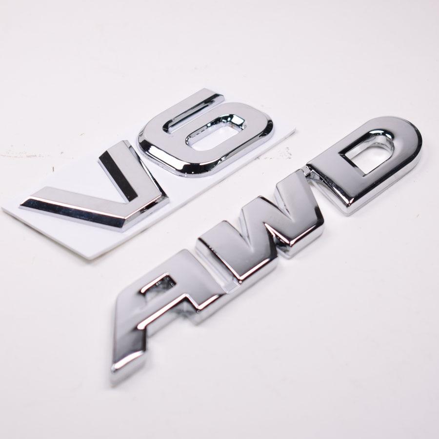 YAQUICKA 3D Metal V6 AWD Emblem Badge Car Sticker For Toyota Highlander Auto Exterior Accessories Car-covers Styling auto car chrome awd for cx 5 trunk emblem badge sticker