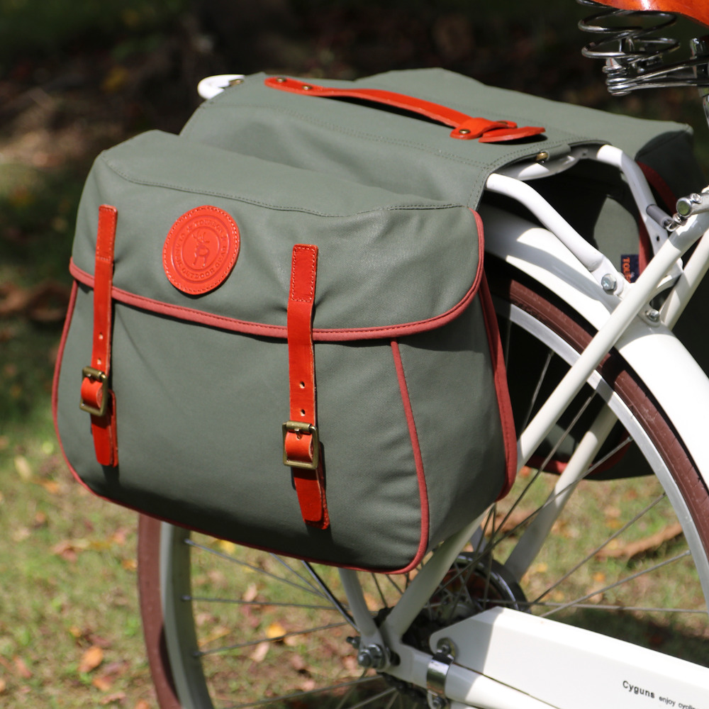 Tourbon City Cycling Retro Bicycle Saddlebags Rear Rack Trunk Backseat Pannier Bike Luggage Two Bags Waterproof Waxed Canvas roswheel 50l bicycle waterproof bag retro canvas bike carrier bag cycling double side rear rack tail seat trunk pannier two bags