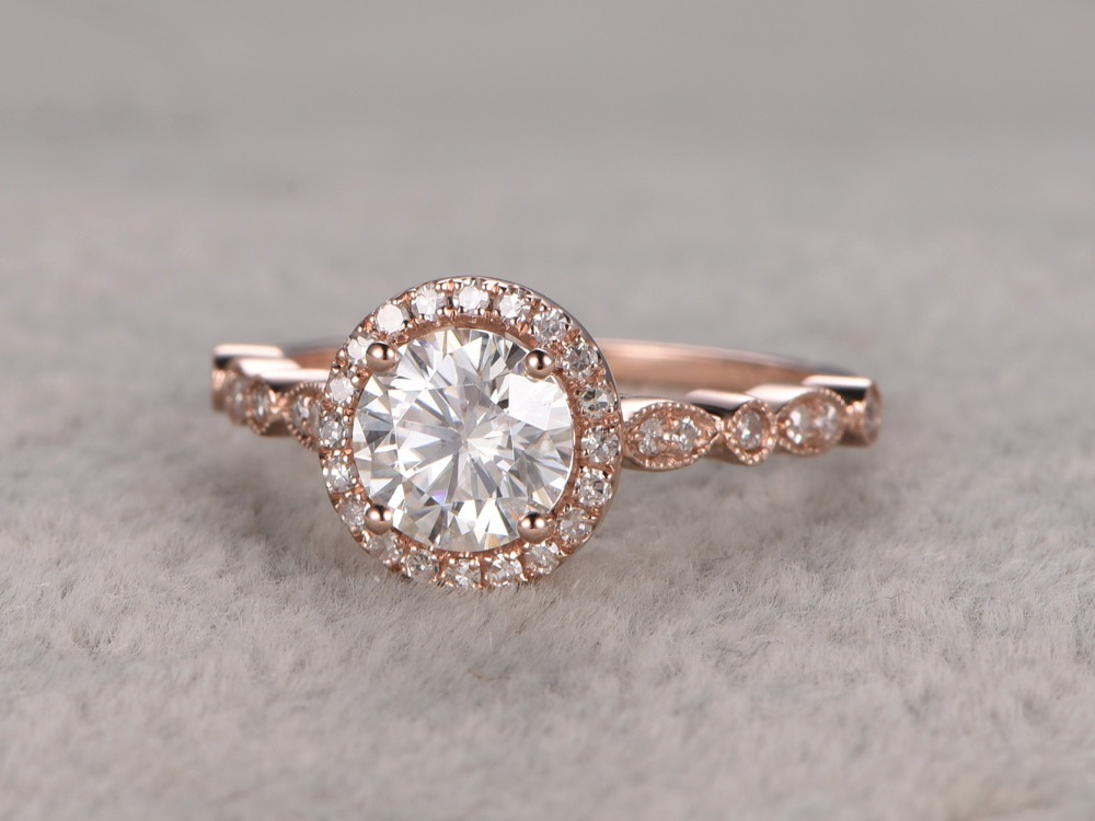 MYRAY 6.5mm Round Charles and Colvard Moissanite 14k Rose Gold Diamond Halo Antique Engagement Wedding Ring Anniversary Gift