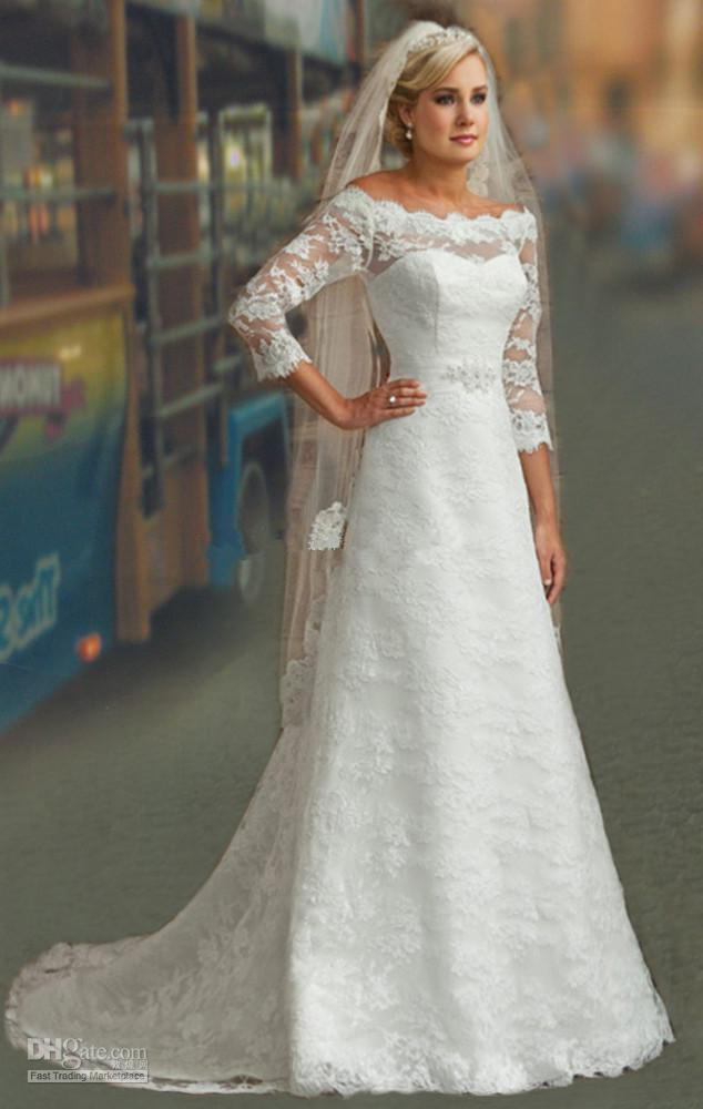 Modest style 3 4 sleeve off the shoulder beaded belt lace for Lace modest wedding dresses