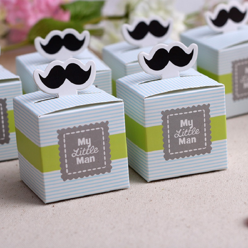 Moustache Paper Gift Box Candy Boxes Baby Shower Decorations For Guests Thanks Gift Bags Event & Party Supplies