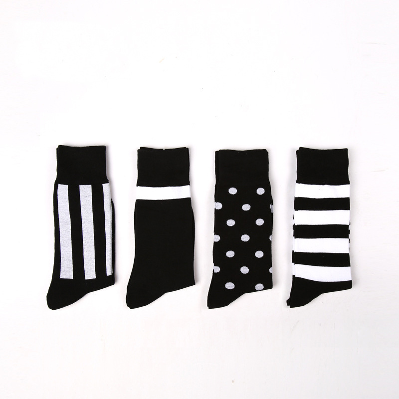 (4Pairs)High Quality Fashion Harajuku Socks Men Colorful Casual Cotton Men Socks Male Brand Happy Socks Men Dress Business Sock