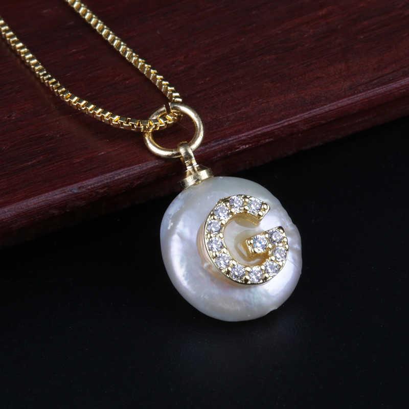 Белый CZ начальный 26 Алфавит буквы ABC имя белый пресноводный жемчуг Шарм индивидуальный кулон изящный колье ожерелье для женщин