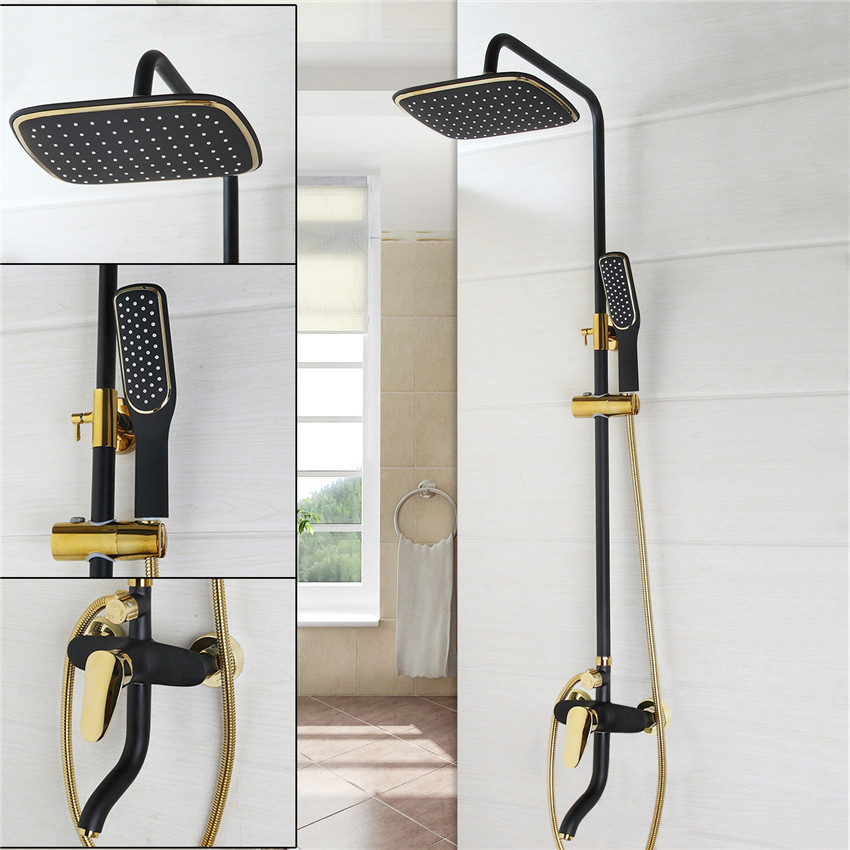 Bathroom Luxury Oil Rubbed Bronze with some golden polished Shower Faucet Set ABS shower head wall mounted shower set 51017-5 bathroom accessory black oil rubbed bronze toothbrush holder set two ceramic cups wall mounted wba828