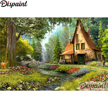 Dispaint Full Square/Round Drill 5D DIY Diamond Painting House tree Embroidery Cross Stitch 3D Home Decor A10855
