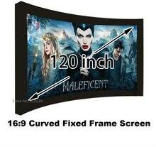 شاشة عرض سينمائية جيدة العرض 16:9 منحني إطار ثابت شاشات العرض 120 بوصة HD مات الأبيض دعوى لعرض السينما ثلاثية الأبعاد