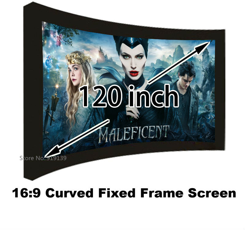 Good Gain Cinema Projection Screen 16:9 Curved Fixed Frame Projector Screens 120 Inch HD Matt White Suit For 3D Cinema Display low price 92 inch flat fixed projector screen diy 4 black velevt frames 16 9 format projection for cinema theater office room