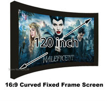 Iyi Kazanç Sinema Projeksiyon Ekranı 16:9 Kavisli Sabit Çerçeve Projektör Ekranları 120 Inç HD Mat Beyaz Takım Elbise 3D Sinema ekran