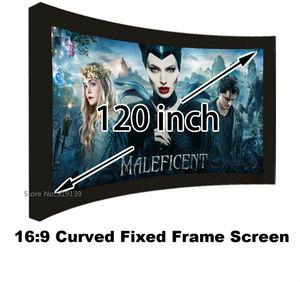 Image 1 - Écran de Projection cinéma bon Gain 16:9 écrans de projecteur à cadre fixe incurvé 120 pouces HD blanc mat pour laffichage cinéma 3D