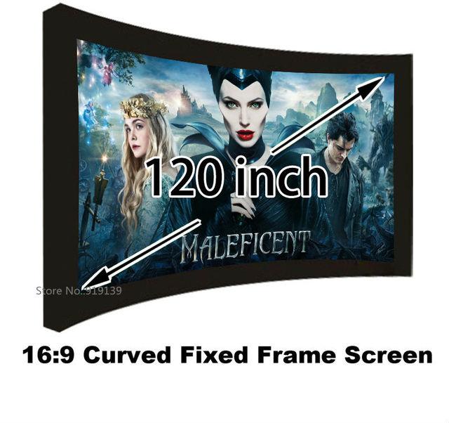 Écran de Projection cinéma bon Gain 16:9 écrans de projecteur à cadre fixe incurvé 120 pouces HD blanc mat pour laffichage cinéma 3D