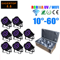 Freeshipping 8IN1 Flightcase + 18*18W RGBWA Ultraviolet Professional Led Par Zoom Light 2.4G Wireless Receiver In Remote Control