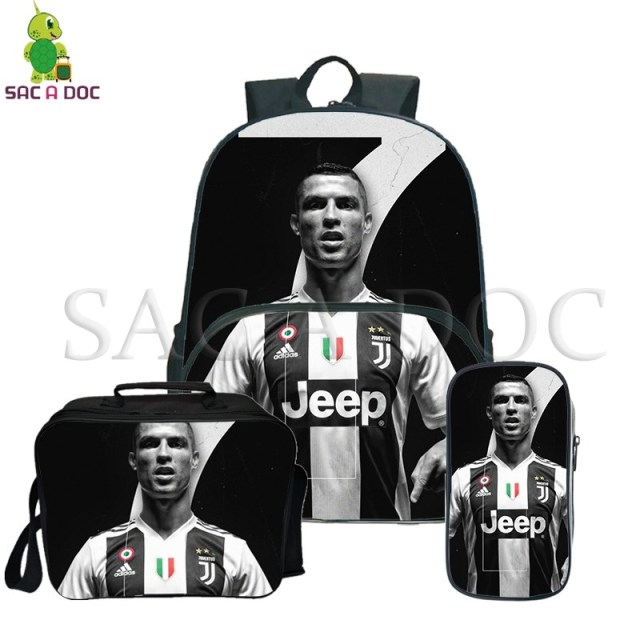 68cf808cbf Cristiano Ronaldo 3Pcs/Sets Backpack CR7 School Travel backpack for  Teenagers Women Men Casual Rucksack