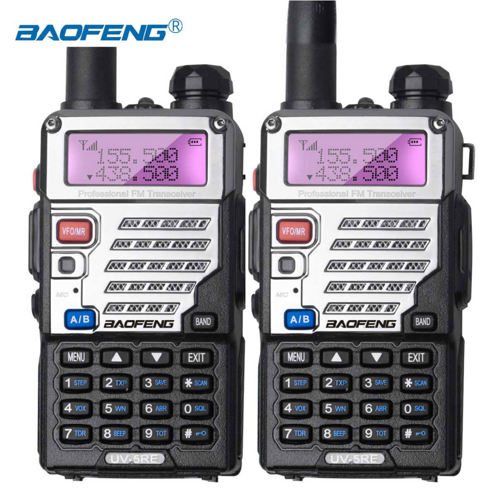 2PCS Baofeng UV-5RE Walkie Talkie UV5RE Ham Radio Dual Band Dual Display Program 1