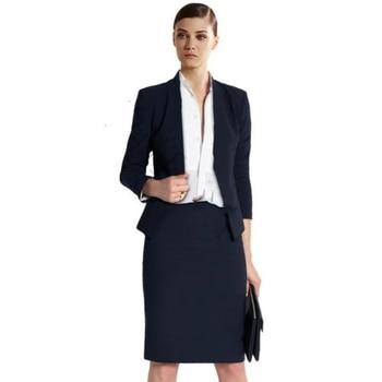 Dark Navy Blue Women Business Suits Ladies Office Uniform Female Skirt Suits Custom Made B353