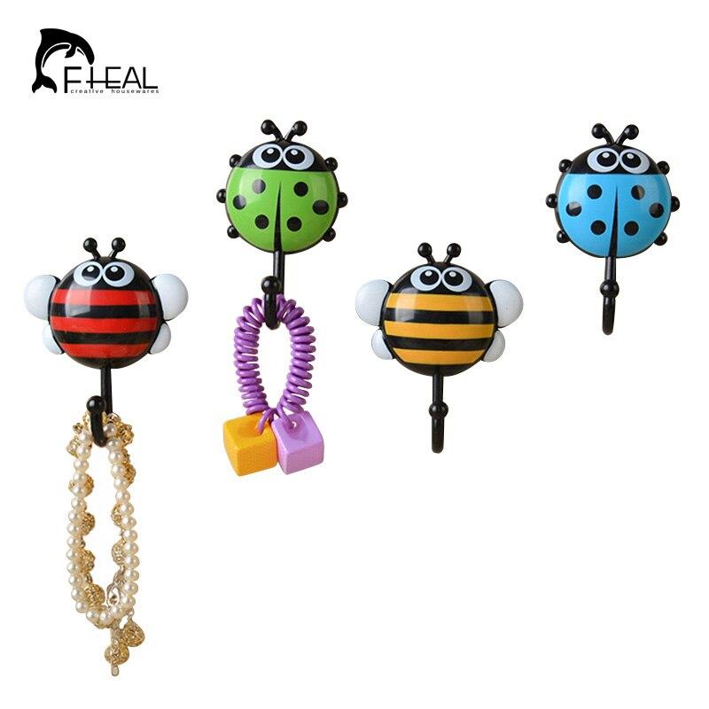 Fheal 2pcs Cute Ladybug Bee Bathroom Wall Hooks Kitchen Vacuum Sucker Holder Hook Multi Purpose Wall Decor Hooks