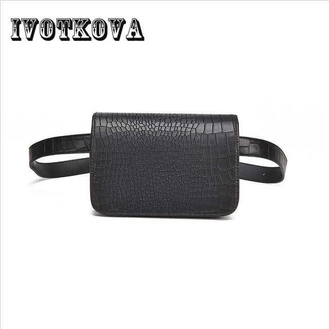 IVOTKOVA Alligator 2018 Fashion Women Waist Pack PU Leather Belt Waist Bag Ladies Portable Phone Case Female Fanny Pack