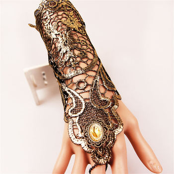 Golden Lace Gloves Vintage Gothic Queen Cosplay Accessory Medieval Victorian Armband Bracer 1