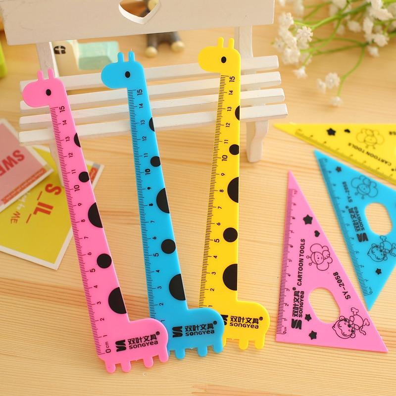 1 Set , Cartoon Giraffe Ruler Set , Straight Ruler / Triangular Ruler / Protractor Junior School Ruler Set For Kids