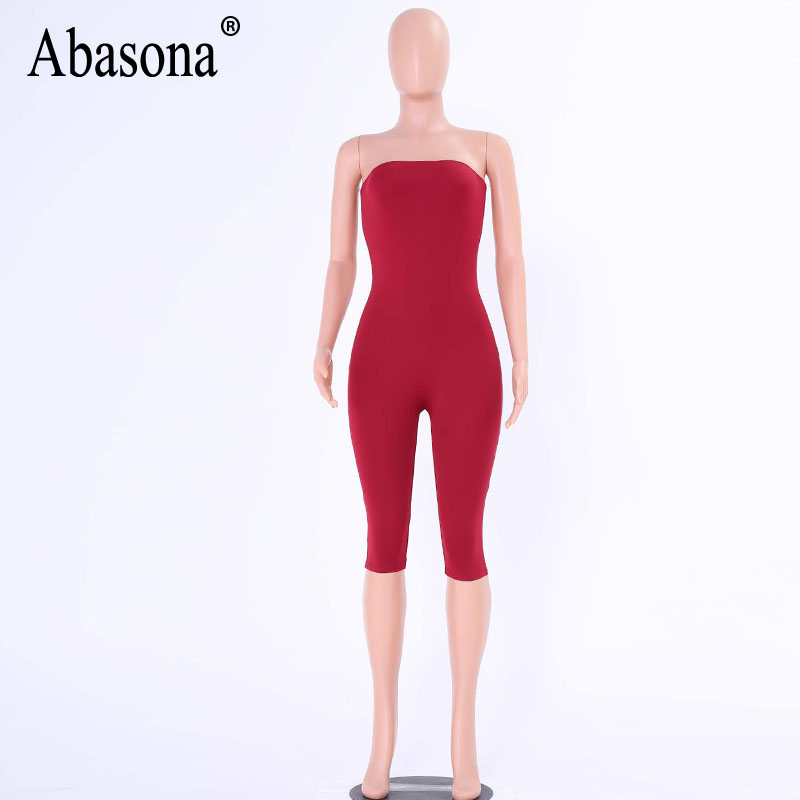 9031665df87 Abasona Strapless black solid spandex playsuits Off shoulder summer shorts  rompers womens jumpsuit backless female bodysuits-in Rompers from Women s  ...