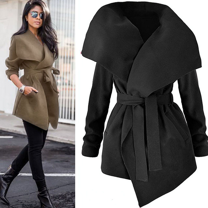 2019 Spring Autumn Woolen   Trench   Coat Women Windbreaker Lapel Belt Lace Up Long Coats Outwear Female Elegant Cardigan Overcoat