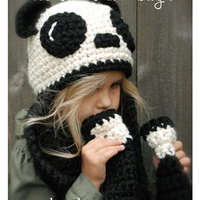 Maxmessy Winter Baby Hats Scarf Set For Children Cartoon Panda Warm Knitted Bonnet Cap With Scarf