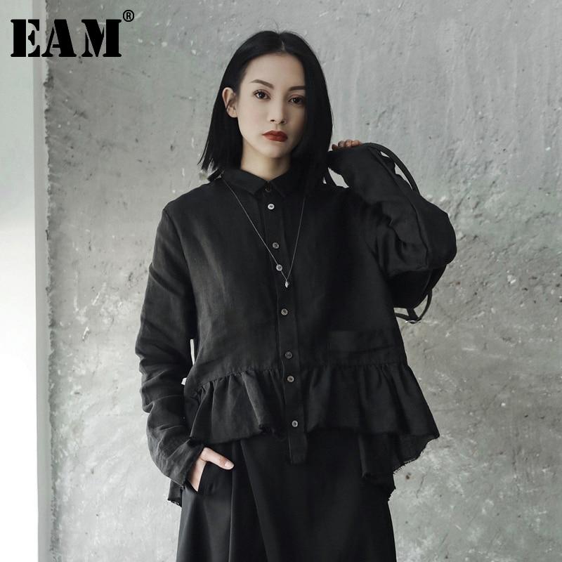 [EAM] Neue 2019 Frühling Sommer Revers Langarm Weiß Legt Rüschen Split Joint Lose Shirt Frauen Bluse Mode flut JE82400S