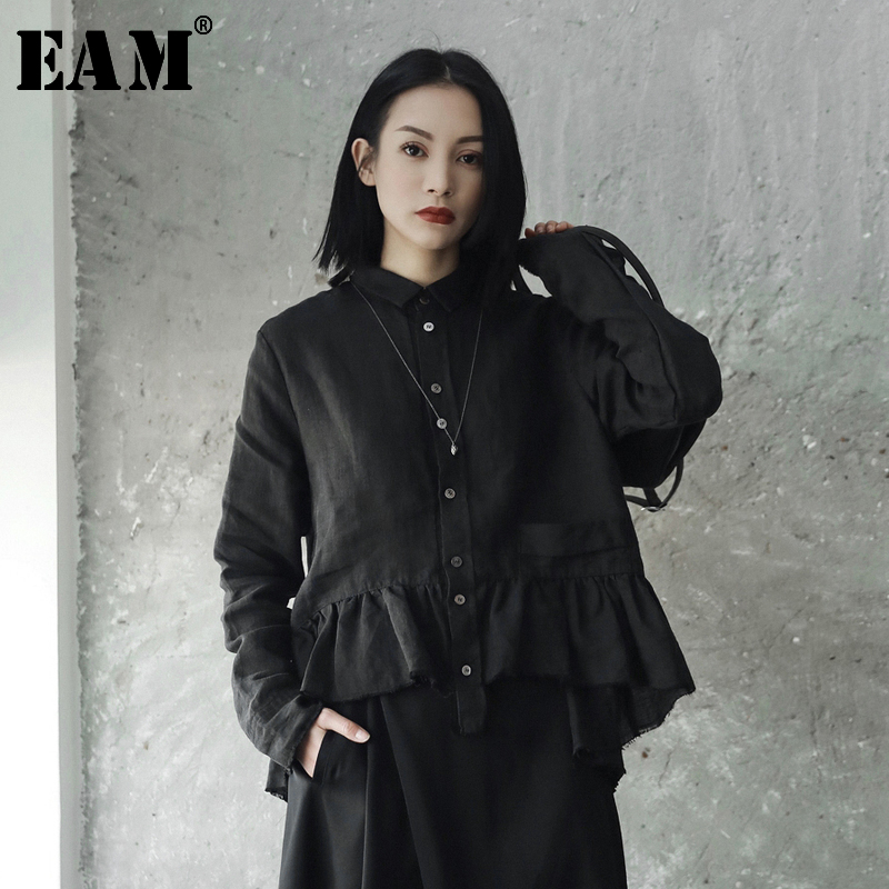 [EAM] New 2019 Spring Summer Lapel Long Sleeve White Lays Ruffles Split Joint Loose Shirt Women Blouse Fashion Tide JE82400S