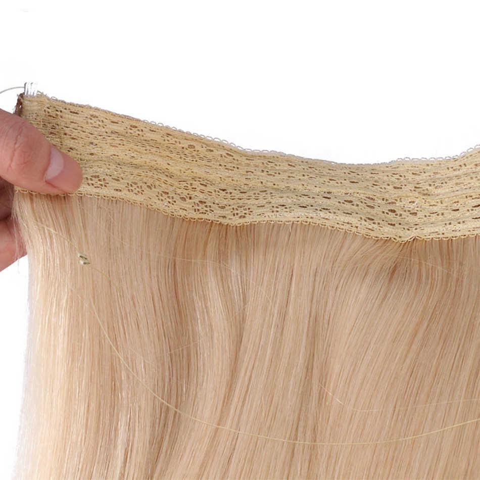 Ali-Güzellik Halo Flip Saç Uzatma Avrupa Remy insan saçından örülmüş Balık Hattı Saç Lenth 18 inç 100 g/adet Atkı genişliği 10 inç
