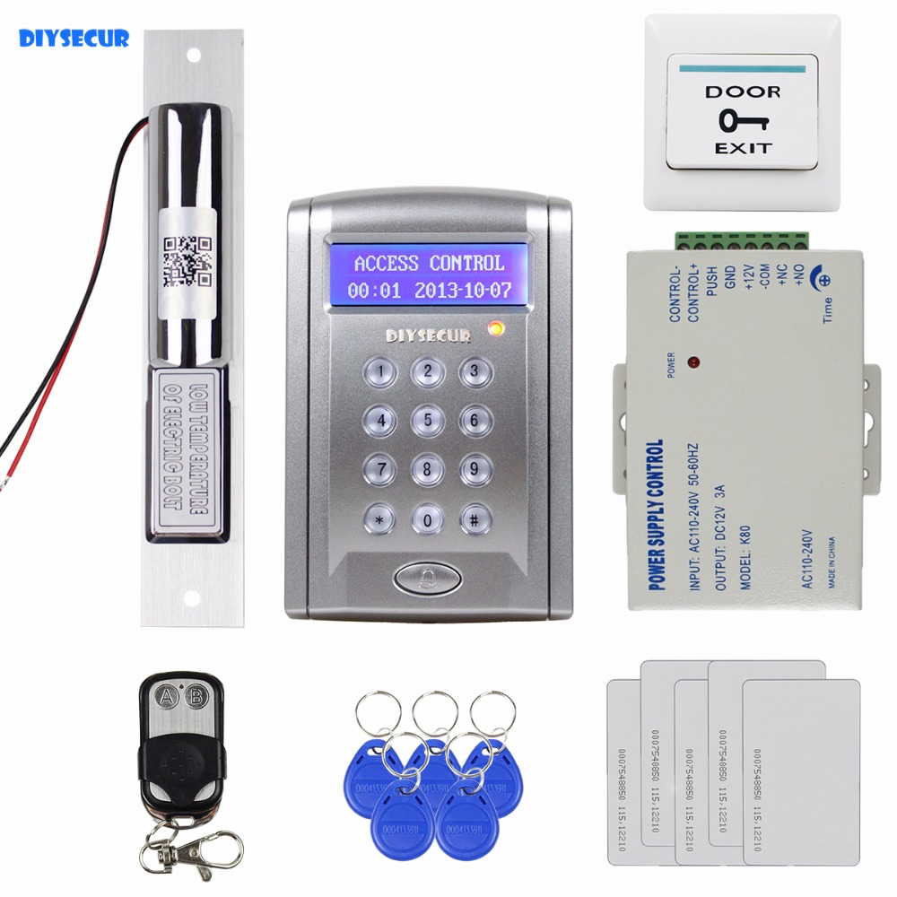 DIYSECUR Remote Controlled RFID Access Control Door Lock System Kit + Electric Bolt Lock Security System with Doorbell Button diysecur magnetic lock door lock 125khz rfid password keypad access control system security kit for home office