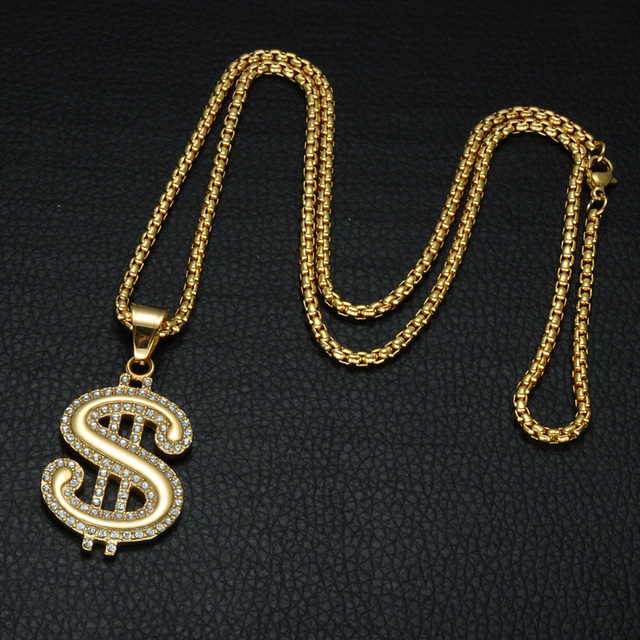 US Dollar Sign Micro Pave Rhinestone Necklace 4