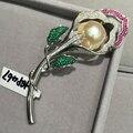 Барокко Естественные пресноводные перлы цветка брошь pin романтический женская мода ювелирные изделия стерлингового серебра 925 пробы с кубической циркон