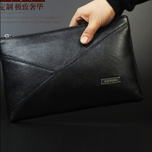 Brand 100% first layer genuine leather black envelope clutch bag men brown handbags men's messenger shoulder bag bolsas HB00017
