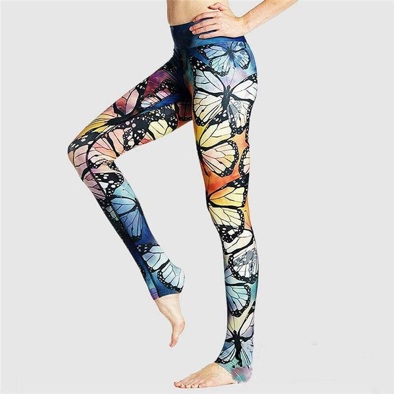 Women Butterfly Print  Seamless Slim Fitness Leggings New Lady Yogawear Bodycon High Waist Workout Legging Sportswear Trousers