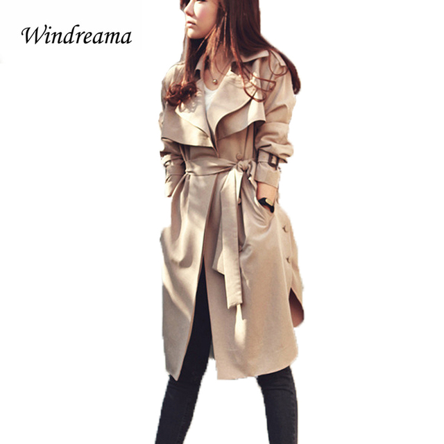 New Fashion Spring Autumn Women Trench Coat Long Outwear Plus Size Waist Slim Coats for Women With Belt Spring Women Coat