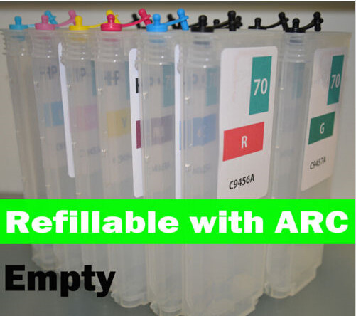 12 empty compatible refillable cartridge for HP Z3100 for HP70 with ARCs