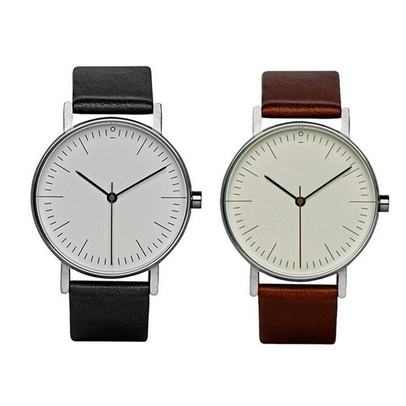 Simple Fashion Men Alloy Case PU Synthetic Leather Quartz Watches Casual Sport Watch Men Wrist Watches Wristwatches Clock LB