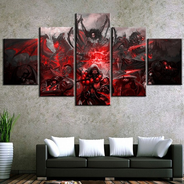 HD Print 5 Piece World of Warcraft Game Poster Painting Canvas Wall Art Picture Home Decoration Living Room Canvas Painting 3