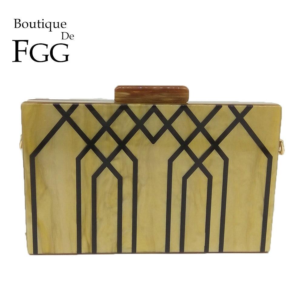Boutique De FGG Geometric Striped Acrylic ABS Women Fashion Handbags and Purses Hard Case Evening Box