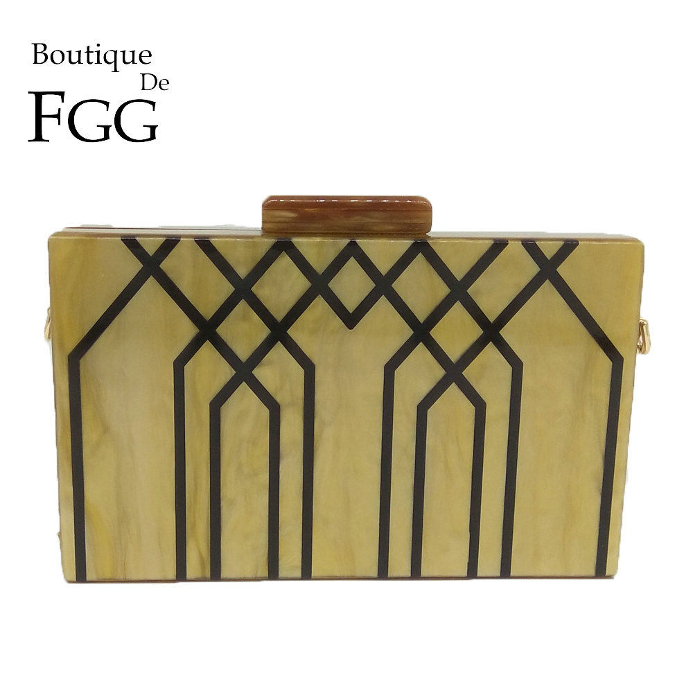 Boutique De FGG Geometric Striped Acrylic ABS Women Fashion Handbags and Purses Hard Case Evening Box Clutch Chain Shoulder Bag-in Clutches from Luggage & Bags    1