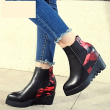 European Style Heavy-bottomed Slope Heels Ankle Boots Pointy Toe Elastic Band Wedges Booties Shoes Women Discount Cheap Selling